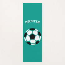 Personalized Soccer Ball Geometric Green Kids Yoga Mat
