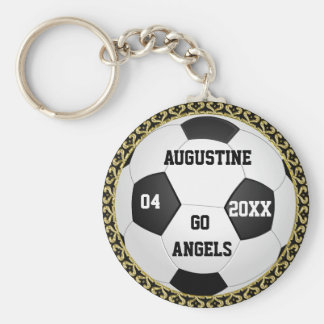 Personalized Soccer Ball Gold Gifts Keychain