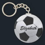 "Personalized Soccer Ball Keychain<br><div class=""desc"">Customize this soccer ball by changing the player name. Add a number.</div>"