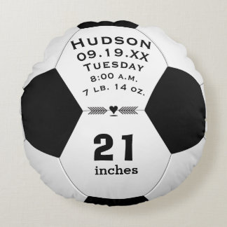 Personalized Soccer Ball Name and Baby Stats Round Pillow