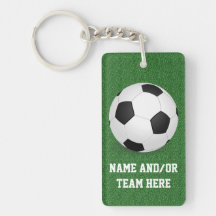 Personalized Soccer Ball Name/Team Single-Sided Rectangular Acrylic Keychain