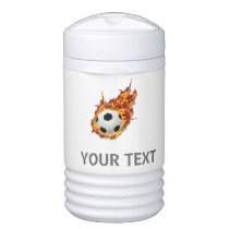 Personalized Soccer Ball on Fire Beverage Cooler