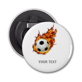 Personalized Soccer Ball on Fire Bottle Opener