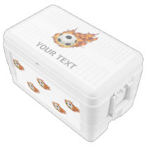 Personalized Soccer Ball on Fire Chest Cooler