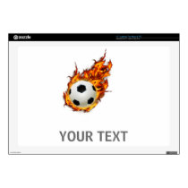 Personalized Soccer Ball on Fire Laptop Skin