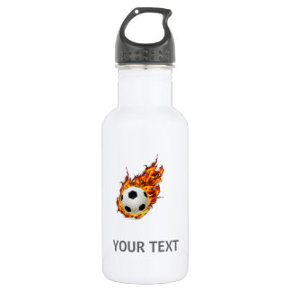 Personalized Soccer Ball on Fire Water Bottle