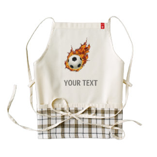 Personalized Soccer Ball on Fire Zazzle HEART Apron