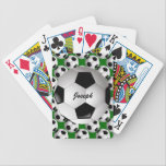 "Personalized Soccer Ball on Football Pattern Bicycle Playing Cards<br><div class=""desc"">A football soccer ball design which is fully customizable with your own name or text. The background features a pattern of soccer balls on a football pitch green. Ideal for any soccer player, football coach or soccer fan. Other color combinations of soccer team colors are available in our store and...</div>"