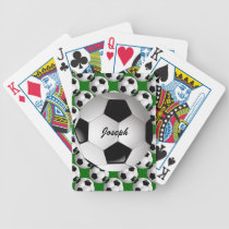 Personalized Soccer Ball on Football Pattern Bicycle Playing Cards