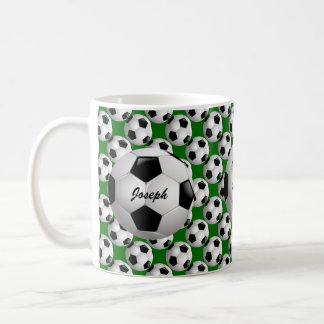 Personalized Soccer Ball on Football Pattern Coffee Mug