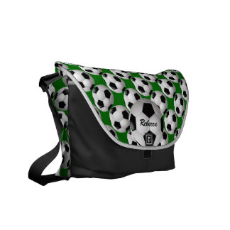 Personalized Soccer Ball on Football Pattern Courier Bag