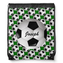 Personalized Soccer Ball on Football Pattern Drawstring Bag
