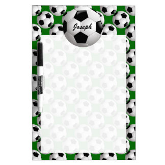Personalized Soccer Ball on Football Pattern Dry-Erase Board