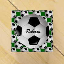 Personalized Soccer Ball on Football Pattern Favor Box
