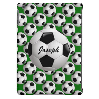 Personalized Soccer Ball on Football Pattern iPad Air Covers