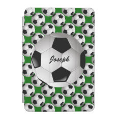 Personalized Soccer Ball on Football Pattern iPad Mini Cover at Zazzle
