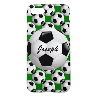 Personalized Soccer Ball on Football Pattern iPhone 7 Case