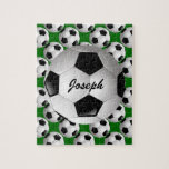 Personalized Soccer Ball on Football Pattern Jigsaw Puzzle<br><div class='desc'>A football soccer ball design which is fully customizable with your own name or text. The background features a pattern of soccer balls on a football pitch green. Ideal for any soccer player, football coach or soccer fan. Other color combinations of soccer team colors are available in our store and...</div>
