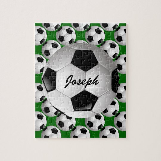 Personalized Soccer Ball On Football Pattern Jigsaw Puzzle Zazzlecom