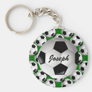 Personalized Soccer Ball on Football Pattern Basic Round Button Keychain