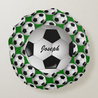 Personalized Soccer Ball on Football Pattern Round Pillow