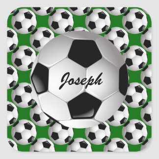 Personalized Soccer Ball on Football Pattern Square Sticker