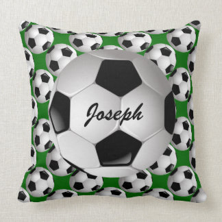 Personalized Soccer Ball on Football Pattern Throw Pillow