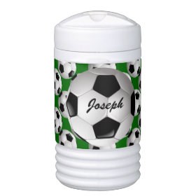 Personalized Soccer Ball on Green Igloo Beverage Dispenser