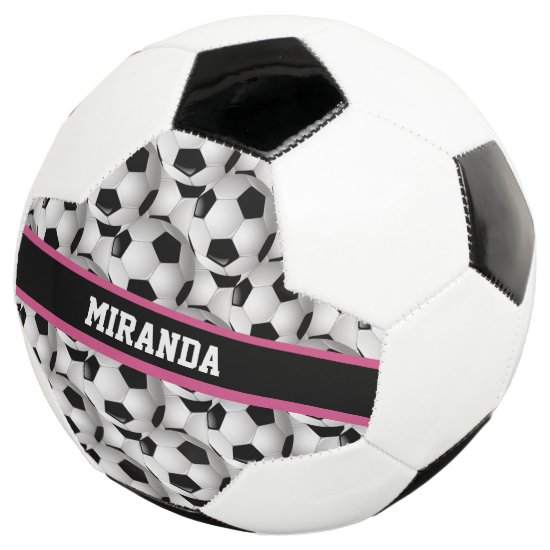 Personalized Soccer Ball Pattern Black Pink White