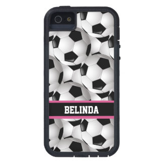 Personalized Soccer Ball Pattern Black Pink White iPhone 5 Cases
