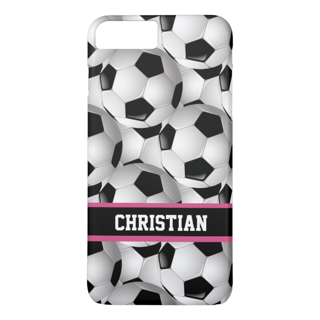 Personalized Soccer Ball Pattern Black Pink White iPhone 7 Plus Case
