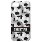 Personalized Soccer Ball Pattern Black Red White Case For iPhone 5/5S