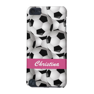 Personalized Soccer Ball Pattern Pink iPod Touch 5G Cases