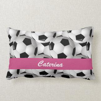 Personalized Soccer Ball Pattern Pink Lumbar Pillow