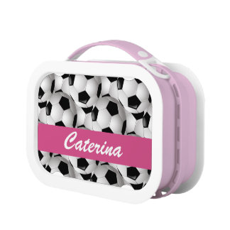 Personalized Soccer Ball Pattern Pink Lunchbox