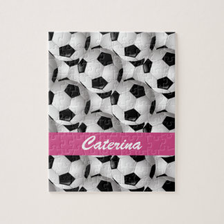 Personalized Soccer Ball Pattern Pink Puzzle