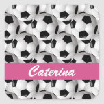 Personalized Soccer Ball Pattern Pink Square Sticker