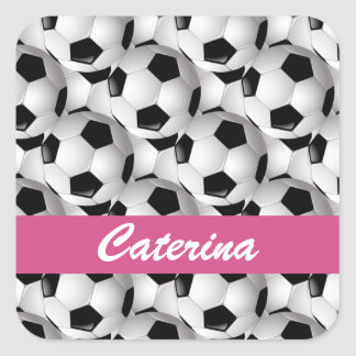 Personalized Soccer Ball Pattern Pink Sticker