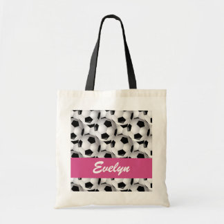 Personalized Soccer Ball Pattern Pink Tote Bag