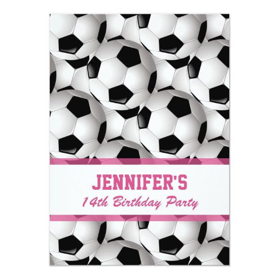 Personalized Soccer Ball Pattern v3 Pink Birthday Invitation