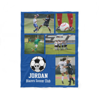 Personalized Soccer Ball Photo Collage Name # Team Fleece Blanket