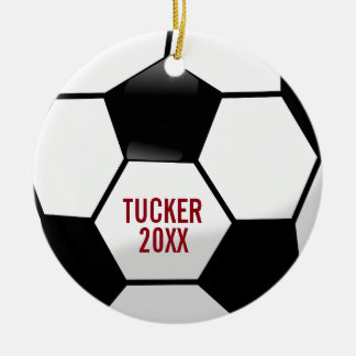Personalized Soccer Ball with Team Name and Number Ceramic Ornament