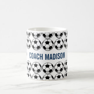 Personalized Soccer Ball with Team Name and Number Coffee Mug