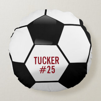 Personalized Soccer Ball with Team Name and Number Round Pillow
