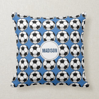 Personalized Soccer Ball with Team Name and Number Throw Pillow
