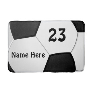 Personalized Soccer Bath Mat Your Name and Number