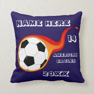 Personalized Soccer blue Pillow with Player's Name
