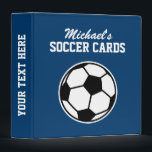 """Personalized soccer card binder for kids<br><div class=""""desc"""">Personalized soccer card binder for collectors (no sleeves). Personalized kids name on front and custom background color ie blue. Organize your sports player card collection. Cute Birthday gift idea for boys and girls who love playing soccer and other sports.</div>"""