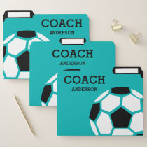 Personalized Soccer Coach Green Black White File Folder