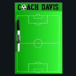 "Personalized Soccer Coach&#39;s Field Play Dry-Erase Board<br><div class=""desc"">Great gift for a soccer coach -- a personalized dry erase board with the field printed out on it. The coach&#39;s name is at the top (with the &quot;O&quot; in Coach as a soccer ball) in a black, easy-to-read collegiate style typestyle. Any coach would really appreciate a thoughtful gift such...</div>"